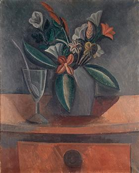 Flowers in a Grey Jar