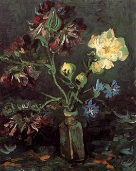 Vase with Myosotis and Peonies