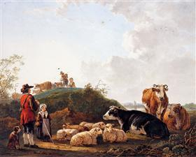 Herdsman with resting cattle