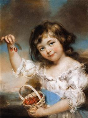 Small Girl Presenting Cherries