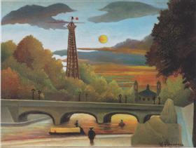Seine and Eiffel tower in the sunset