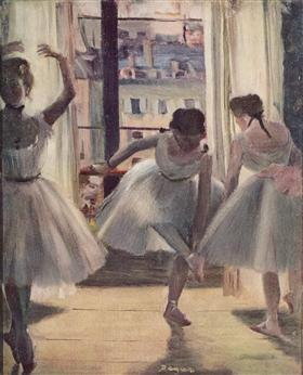 Three Dancers in an Exercise Hall