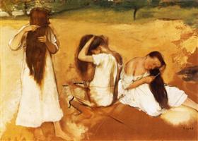 3 Women Combing Their Hair