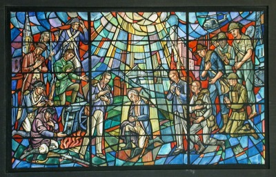 MIL-144 Stained glass window with American Military theme