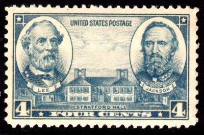CW-106 Postage Stamp of Generals Lee and Jackson, 1937