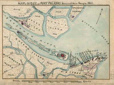 SV-130 Fort Pulaski Map c.1862