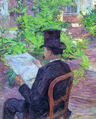 Desire Dehau Reading a Newspaper in the Garden