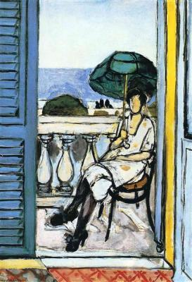 Woman with a Green Parasol on a Balcony