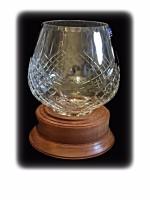 Wooden Base Crystal Bowl