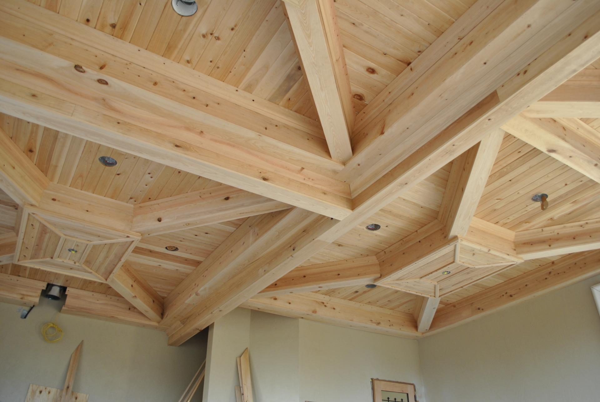 Pine Beams and Ceiling Treatment