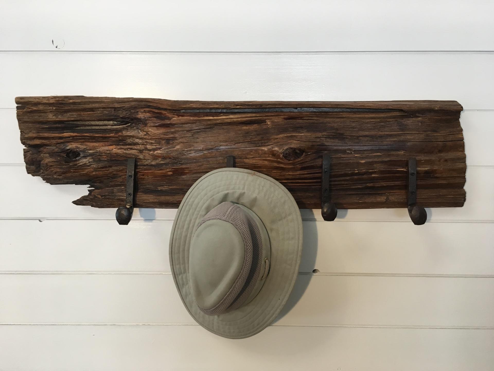 Oak and Rail Road Spikes Hat Rack