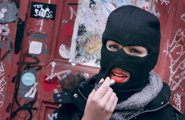 Ski Mask and Lipstick, Creative Portrait