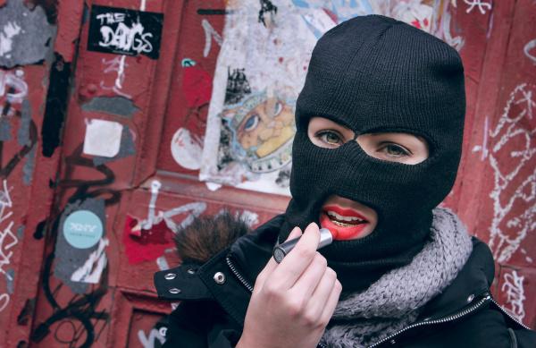 Ski Mask and Lipstick, Creative Portrait