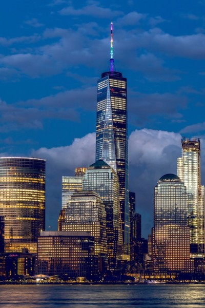One World Trade Center - Spire lit in Pride Colors