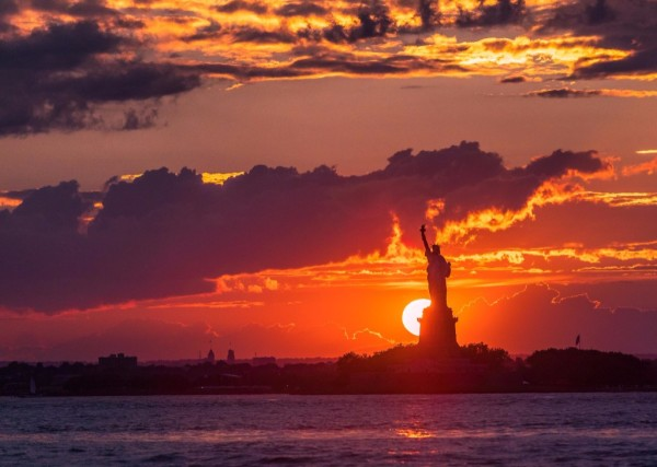 The Statue of Liberty - Sunset in New York