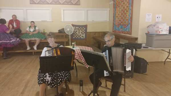 Live Accordion Music During the Round-Up Potluck