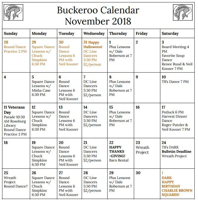 October Calendar, 2018, Buckeroo Square Dance Club