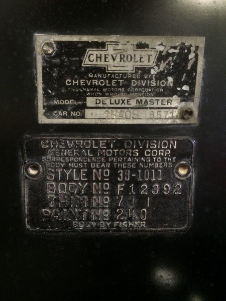 1938 CHEVY MASTER DELUXE