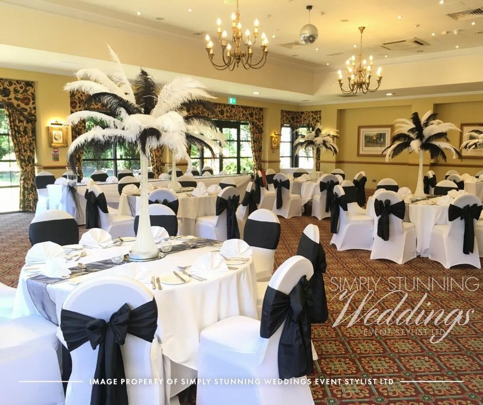 Ostrich Feather Centrepieces. Simply Stunning Weddings - Event Sylist Ltd. Venue Dresser. Solihull