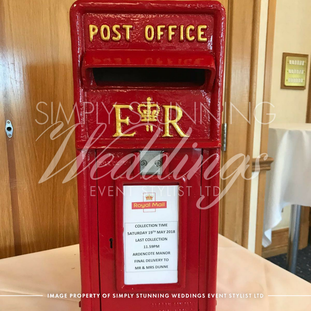 Royal mail post box wedding hire. Simply Stunning Weddings - Event Sylist Ltd. Venue Dresser. Solihull