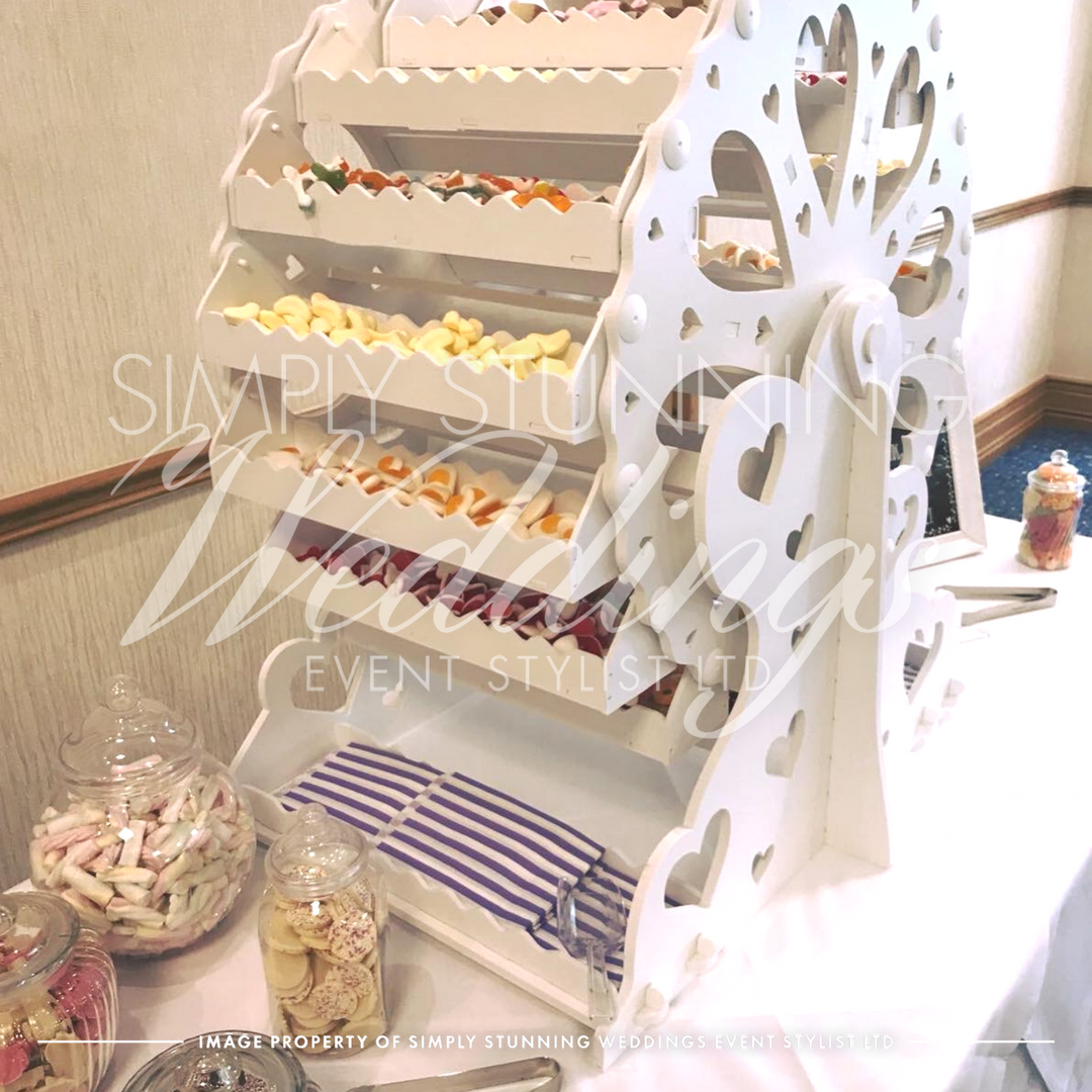 Ferris Wheel - Sweet table.Simply Stunning Weddings - Event Sylist Ltd. Venue Dresser. Solihull