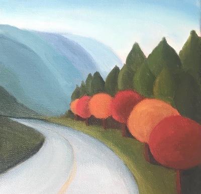 Landscape, autumn, pacific northewest, Oilpainting