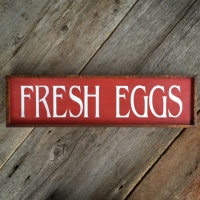 Farmhouse Style Decor, Chicken Decor, Wood Signs, Fresh Eggs, Handmade Signs, Rustic Wall Signs, Red, Crow Bar D'signs