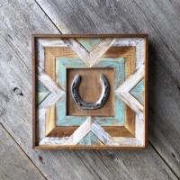 Boho, Bohemian Decor, Western Home Decor, Chevron Designs, Pieced Wood Wall Art, Turuquoise