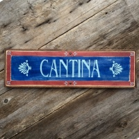 Cantina, Wood Sign, Southwestern Style Decor for your Home, Multi-Colored Signs, Hand Painted Wood Sign, Rustic Wall Art, Bar Signs, Bar Decor for the Home, Crow Bar D'signs