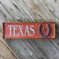 Texas Sign, Texas State Sign, Western Style Home Decor, Western Signs, Lone Star Signs, Tin Star, Horseshoe Decor, Gift for Texas Lovers