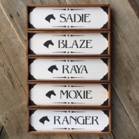 Custom Stall Signs, Horse Decor, Stable Signs, Personalized Name Plaques for Horses, Equine Decor, Stable Signs, Customized Horse Stall Signs, Barn Signs, Farm and Ranch Style, Crow Bar D'signs, Made in the USA
