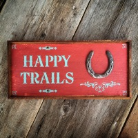 Decorative Wood Signs, Happy Trails, Horseshoe, Western Style Signs, Western Lifestyle Decor, Gift for Horse Lovers, Horse and Equine Decor, Handmade Signs, Crow Bar D'signs