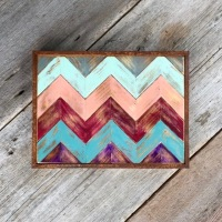 Chevron Design, Rustic Modern Art, Wood Wall Art, Pieced Wood Wall Decor, Multi-Colored Art Pieces, Chevron Decor Ideas, Boho, Bohemian Style, Southwestern Home Decor, Handmade by Crow Bar D'signs