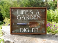 Garden Signs, Garden Decor, Outdoor Living Space Decor, Outdoor Signs, Garden Quotes, Live Quotes, Inspirational Sayings about Life, Rustic Style Home Decor Ideas, Wood Signs, Wall Art for Nature Lovers