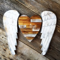 Rustic Heart, Angel Wings, Rustic Style Wall Decorations, Wall Gallery Ideas, Country Style Home Decor, Home Decorating Ideas, Boho Decor, Bohemian Style Wall Art, Handmade by Crow Bar D'signs, Made in the USA