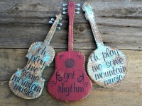 Rustic Wall Decor, Banjo, Fiddle, Guitar, Musical Decor, Bluegrass Music Decor and Wall Art, Classic Country Songs, Lyrics on Wood, Musical Signs, Mountain Living Home Decor, Get Rhythm Guitar Sign