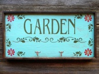 Garden Sign, Copper Hooks, Flower Stencils, Floral Decor for the Home and Garden, Garden Decor Ideas, Wooden Sign