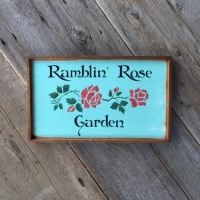 Rose Garden Sign, Red Rose Stencil, Floral Wall Art, Outdoor Signs for the Home and Garden, Gift for Gardeners, Gardening Gifts, Outdoor Accessories