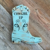 Cowgirl Boot, Cowgirl Up, Wood Wall Art, Western Style Home Decor, Cowgirl Decor Ideas, Western Decor, Horse and Equine Decorating Ideas, Handmade Signs, Wall Decor