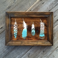 Boho, Bohemian Style, Boho Chic Decor, Feather Decor, Painted Feather Wall Decor, Salvaged Wood Wall Art, Rustic Boho Style Decorating Ideas, Bohemian Inspired Style, Wood Wall Decor for the Home, Gypsy Decor Ideas, Handmade Wall Art Featuring Feathers, Decorative Moulding, Crow Bar D'signs