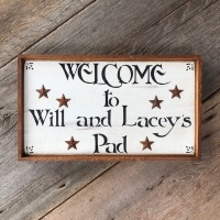 Welcome Sign, Personalized Welcome Sign, Custom Welcome Sign, Rustic Tin Star, Hand Stenciled Sign, Wood Wall Decor, Porch Sign, Patio Decor, Outdoor Living Space Decor