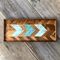 Pieced Wood Wall Art, Chevron Designs, Arrow Art, Handmade Wall Art, Wood Tone Decor, Boho Style Wall Decor, Southwestern Style Home Decor, Arrow Designs, Turquoise