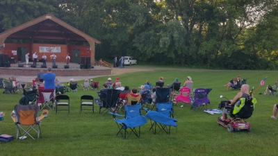 Enjoying Bluegrass music in the park, Sat. 6/29