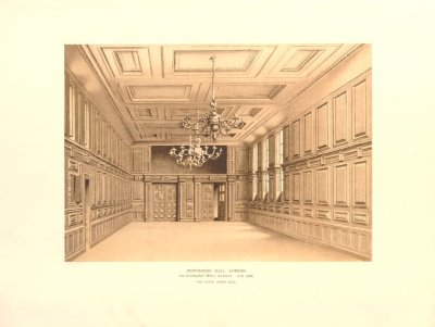 Pewterers' Hall 1668, London.  Print from the collection of the British Museum.
