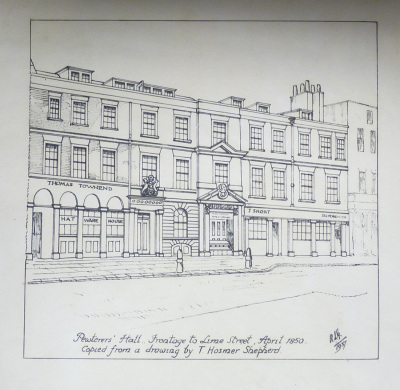 Pewterers' Hall Frontage to Lime Street 1850