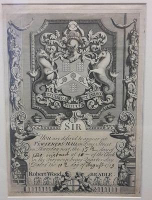 Invitation to a dinner at Pewterers' Hall 1719