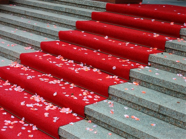 red runner on stairs