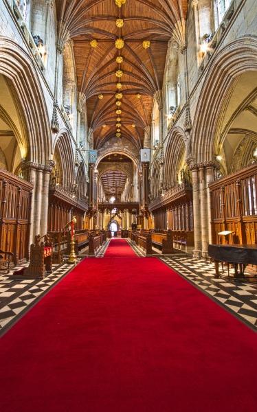 red carpet in church