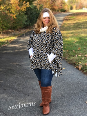 Catherine's Cowl Neck Poncho Pattern by Seamingly Smitten Patterns