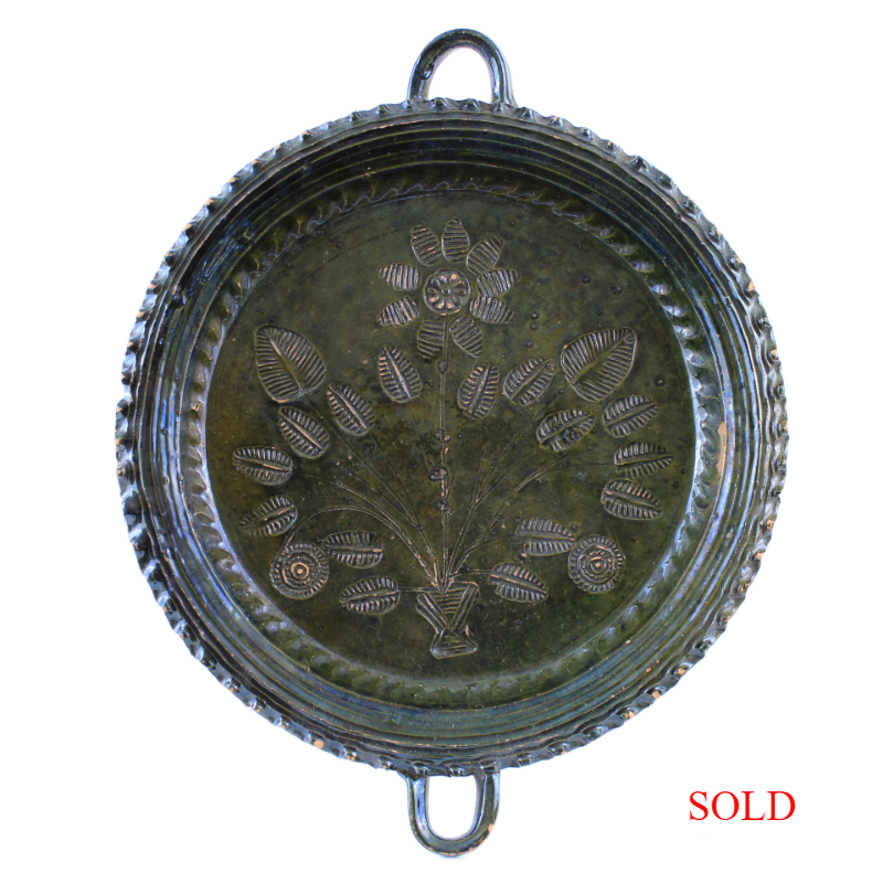 Vintage Mexican Terracotta Iridescent Green Glazed Double Handle Plate